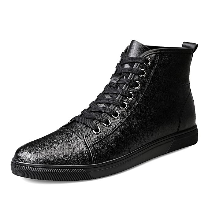 e8c5d1ee799 Men's Leather Boots High Help Short Boots Casual Shoes (black)