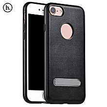 PU Leather Metal Magnetic Stand Protective Skin For IPhone 7 4.7 Inch - Black