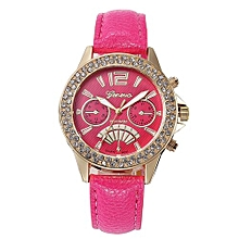 Fohting Women Design Dial Leather Band Analog Geneva Quartz Wrist Watch -Hot Pink