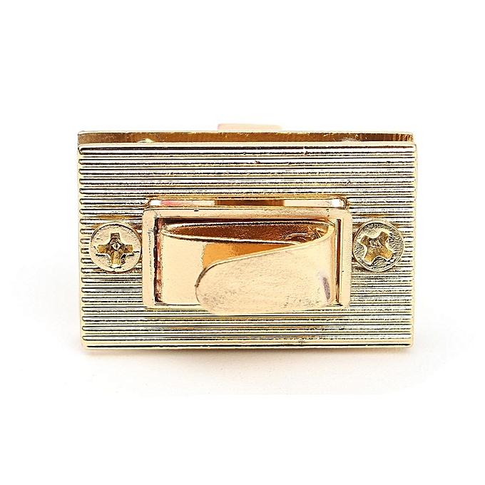 Rectangle Shape Clasp Turn Lock Twist Diy Leather Handbag Bag Hardware Gold