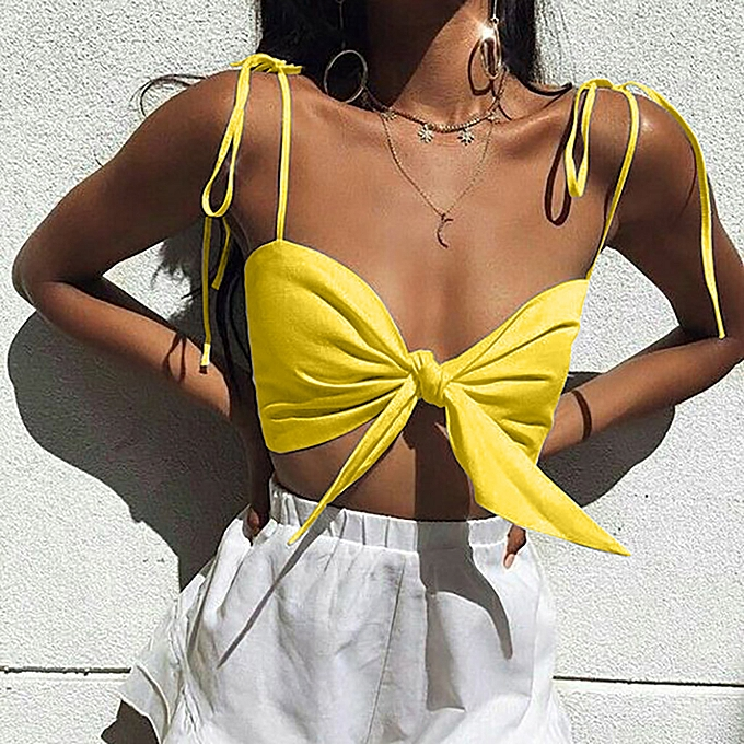 07ac5b1faad7e9 jiahsyc store Women Solid Sexy Off Shoulder Strapless Vest Bow Knot Tank  Top Crop Blouse-
