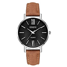 Lightning Fashion Leather Military Casual Analog Quartz Wrist Watch Business Watches-As Showrown