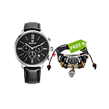 Black Leather Chronograph Watch With Black Dial - Free Bracelet