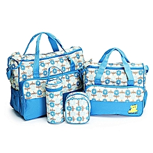 Cute new design 5 in 1 Baby Diaper Bag Nappy Changing Pad waterproof Travel Mummy Bag- Light blue