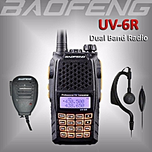 1 x BAOFENG UV-6R Dual Band Handheld UHF/VHF Ham Radio 136-174/400-520Mhz Walkie Talkie + 1 x Free Speaker Mic