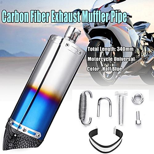 Carbon Fiber Universal Motorbike Motorcycle Exhaust Muffler Pipe Slip-On  Scooter #Half Blue