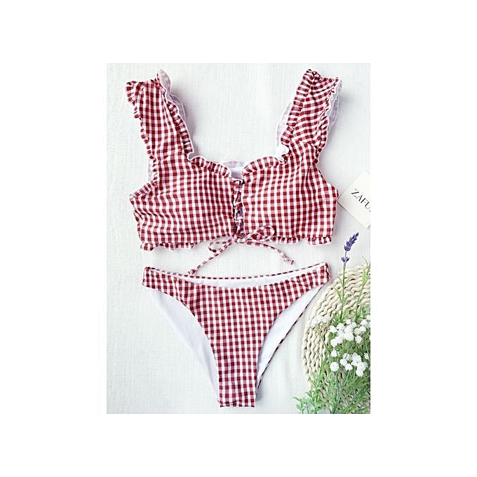 e8dfc46de931a ZAFUL Frilled Gingham Lace Up Bralette Bikini Set - RED AND WHITE ...