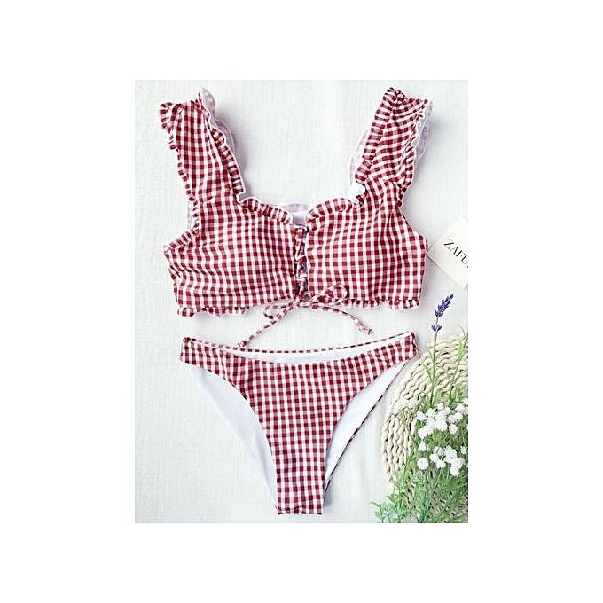 81eadd1410c80 ZAFUL Frilled Gingham Lace Up Bralette Bikini Set - RED AND WHITE ...