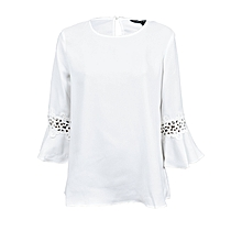 53786b7a1c39c White ivory bell sleeve women top