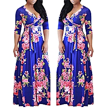 Plus Size Floral Printed Party Maxi Dress Ankara Gown Style-Multi