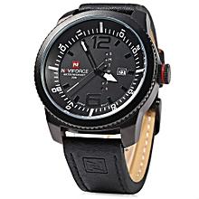 9063M Male Quartz Watch Black Case Calendar Display Dial Leather Band Wristwatch-WHITE AND BLACK