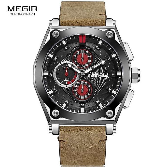 1a48e0162c3 Megir Men s Retro Quartz Watches Brown Leather Strap Relogio Masculino Top  Brand Luxury Chronograph Wristwatch 2098