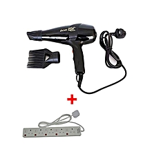 Super GEK 3000 Hairdryer - 1700W - Black With 5-way extension socket cable-White