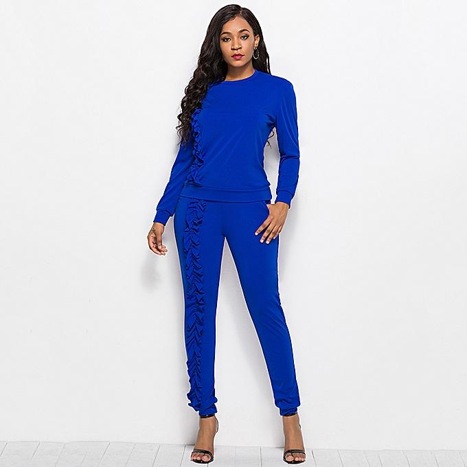 d42c93c9eb7b3 Fashion Women Solid Color Two-piece Set O-Neck Long Sleeve Slim Long Pants  Ruffle Sportswear Suit