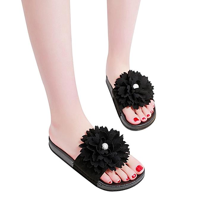 5673ce786 Generic Women Solid Color Flower Round Toe Flat Heel Sandals Slipper ...