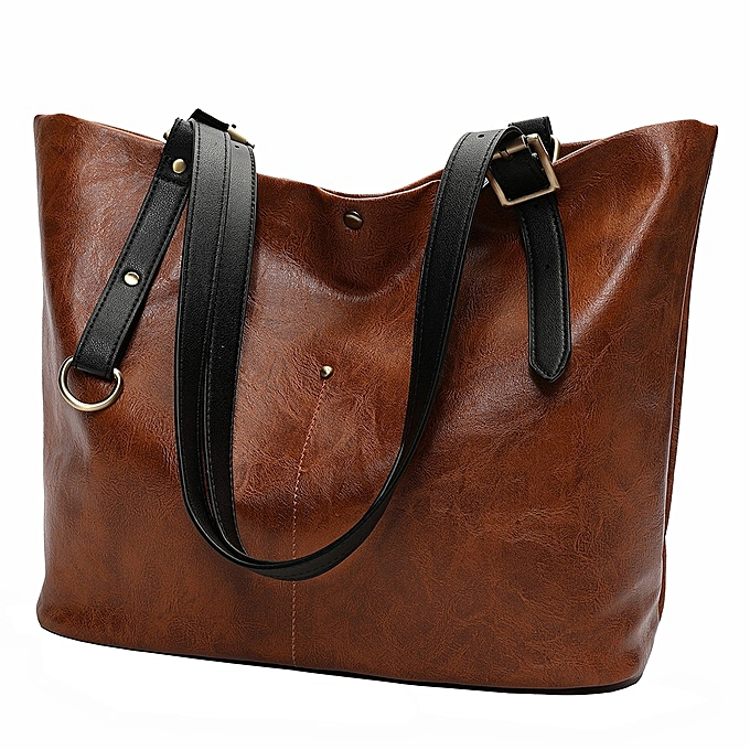 92870f5319035 jiuhap store Fashion Retro Soft Leather Shoulder Bag Tote Bag Ladies Bag  Handbag Backpack-Brown