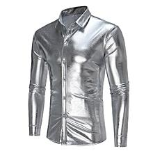 Men's Handsome Nightclub Personality Design Casual Collar Long Sleeve Shirt Button Shirt-silver