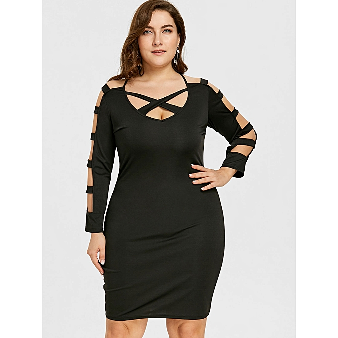 9d8809559720 Nextmia Plus Size Ladder Cut Long Sleeve Fitted Dress - BLACK   Best ...