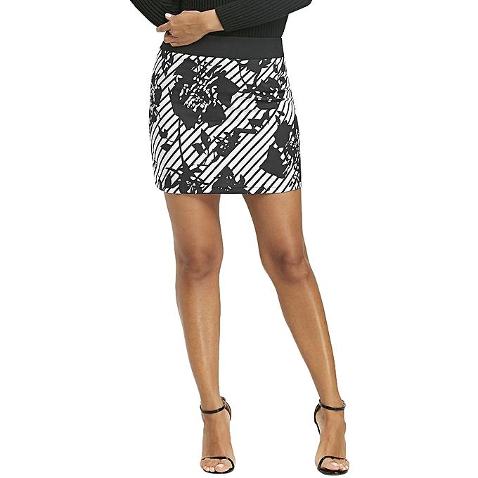Buy Fashion Floral Stripe Mini Pencil Skirt White And Black Best