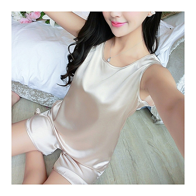 ... Sexy Ice Silk Sleeveless Soft Sleepwear Set Elegant Pajamas For Women  ... 8b662d5d4