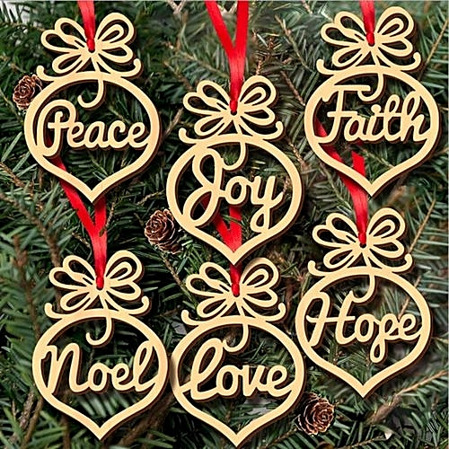 6pcs wood embellishments rustic christmas tree hanging ornament decor