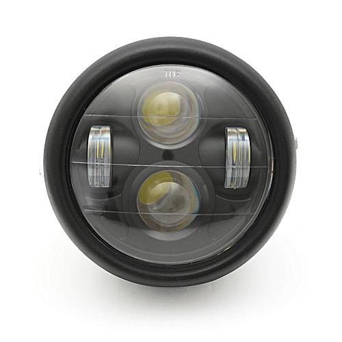 Motorcycle Black Projector Daymaker LED Light Bulb Headlight for Harley  (Black)