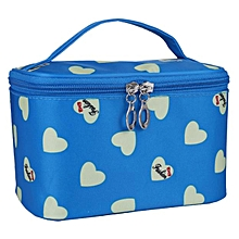 Love Case grain Of Pure Color Cosmetic Bag BU-Blue