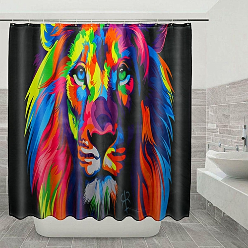 Colorful Lion Waterproof Bathroom Shower Curtain Printing Polyester