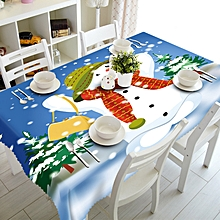 Merry Christmas Rectangular Printed Fabric Party Picnic Tablecloth 70*150cm A-multicolor