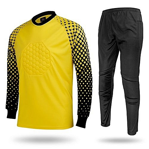 Men's Football Sports Goalkeeper Jersey Long Sleeves Shirts With Pants-Yellow(SY12)