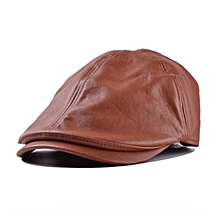 Mens Women Vintage Leather Beret Cap Peaked Hat Newsboy Sunscreen BW