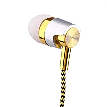 KY-38 Color Cloth Line Heavy Bass Sound In Ear Universal Mobile Phone Headset golden