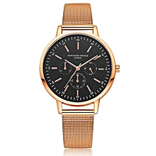 Jewelry Gifts For Women's Alloy Mesh Band Quartz Watch Round Dial Women Watch rose gold & black