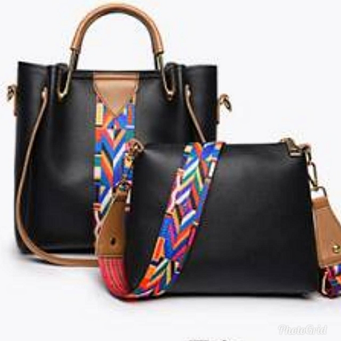 2e5bced05f17 Generic Ladies 2 in 1 leather handbag with multicolored strip   Best ...
