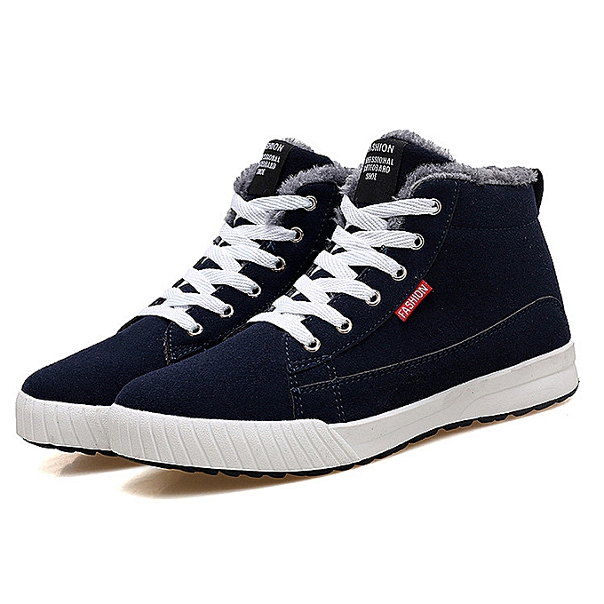 701ccd44 Men's Winter Plush Fur Warm Suede Sneaker High Top Ankle Boot Snow Lace up  Shoes