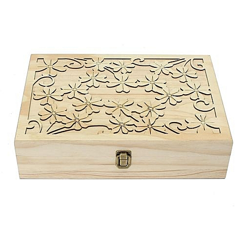 Essential Oils Box Storage Case Wooden Laser Cut Container 70 Slots  14x10x3 5
