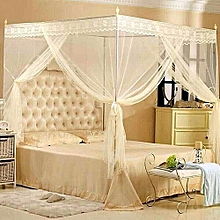 Mosquito net with straight metallic stands -cream