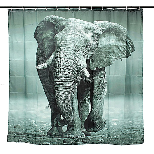Generic 180 X 180cm Elephant Design Shower Curtain Bathroom Waterproof Fabric With 12 Hooks Best Price