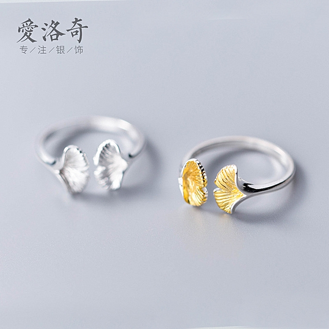 c6c7ae12220 S 925 silver ring female Japanese-style breeze Jian Yue's gingko open mouth  the ring ring literature leaf index finger ring J4887