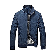 Plus size Men's Jacket Coat Slim Fit Stand Collar Winter Long Sleeve Jacket-blue