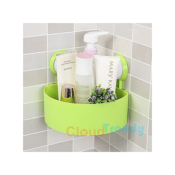 Plastic Bathroom Corner Storage Rack Organizer Shower Shelf Suction Cup Green