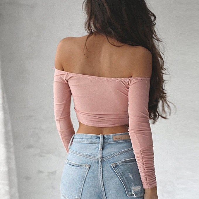 7ec870c277 Hiaojbk Store Women Casual Off Shoulder Top Long Sleeve Crop Blouse  PK/L-Pink