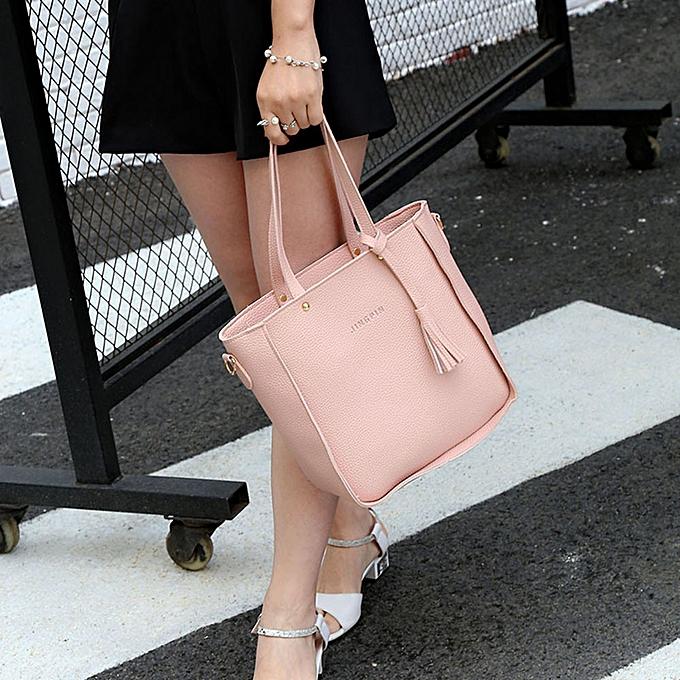 709ffe117b ... guoaivo Women Four Set Handbag Shoulder Bags Four Pieces Tote Bag  Crossbody Wallet PK ...