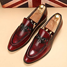 Retro Slip On Formal Shoes Men Genuine Leather Moccasin Casual Shoes (Red)
