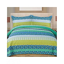 3 Piece Bed Cover Set – Queen Size  –   Green Flower