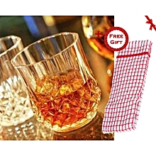 Crystal Short Drinking Glasses - 6 Pieces - Clear (+ Free Gift Hand Towel).