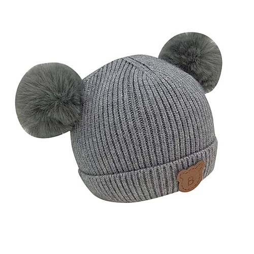 f0038b7cd Children's Double Ball Bear Wool Hat Knitted Hat Plus Lined Baby Hat grey