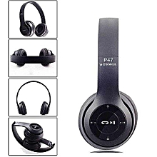 Bluetooth Headphone Wireless  Earphone Hands Free Music Headset-Black