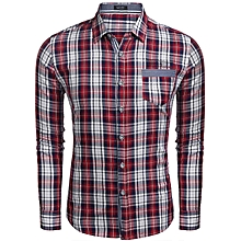Men Applique Long Sleeve Plaid Letter Embroidery Pocket Casual Button Down Shirt-Red