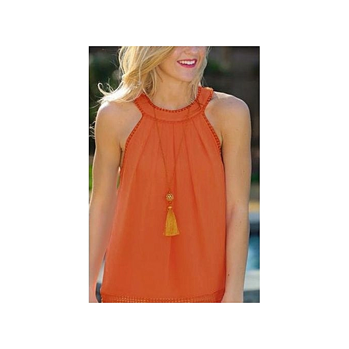 4fa1b50fb85fd YOINS Women New High Fashion Clothing Casual Sleeveless Crew Neck Orange  Cami Top